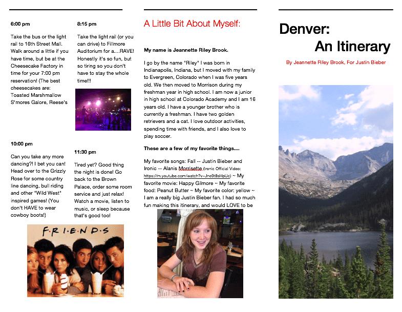 Denver an Itinerary Brochure 1