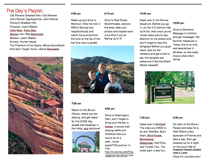 Denver an Itinerary Brochure 2