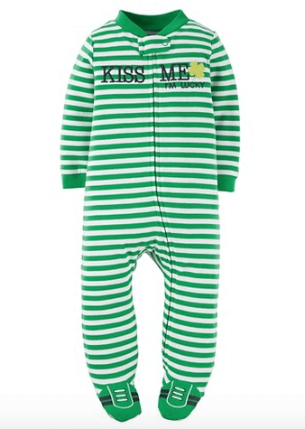 Just One You™ Made by Carter's® Baby Striped Kiss Me Footed Sleeper - Green | Target | The Denver Ear