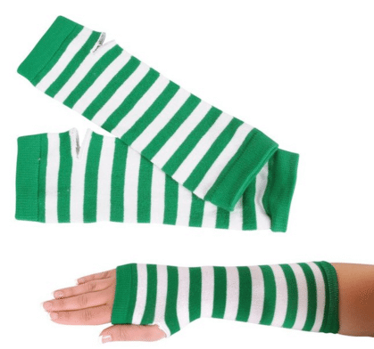 St Patricks Day Green and White Striped Pair of Arm Warmers | Amazon | The Denver Ear