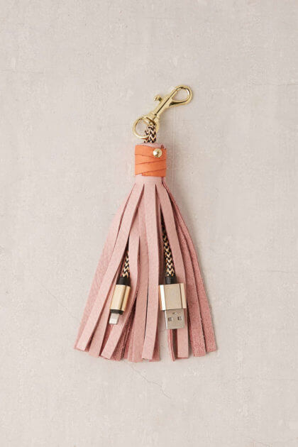 USB Leather Tassel Keychain + Charging Cord | Urban Outfitters | The Denver Ear