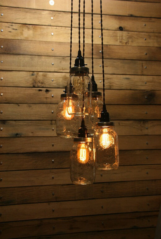 5 Clear Mason Jar Hanging Chandelier Lights | The Denver Ear