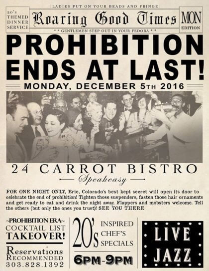 End of Prohibition Party | 24 Carrot Bistro | The Denver Ear